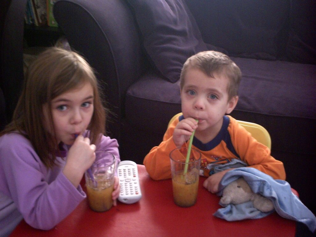Kids Drinking Fruit Juices