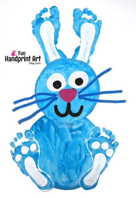 Footprint Bunny Paper Plate Craft