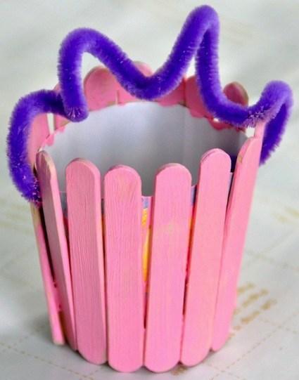 Popsicle Stick Easter Basket