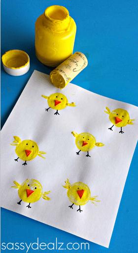 Wine Cork Chick Easter Craft