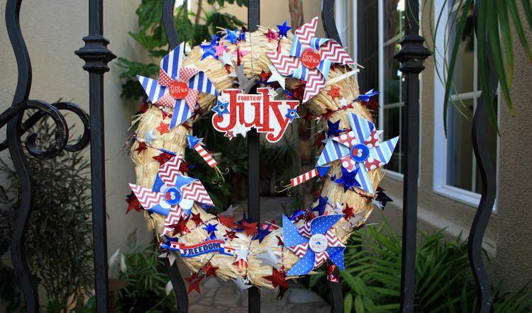 Pinwheel Garland American Flag
