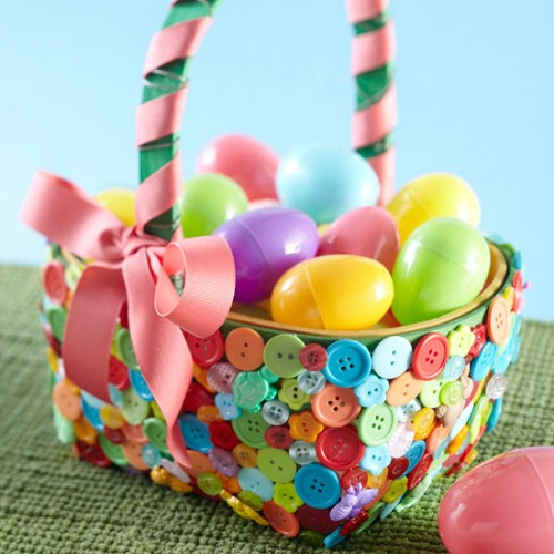Colorful buttons basket