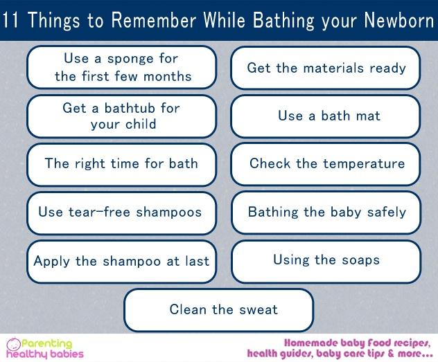 bathing newborn baby