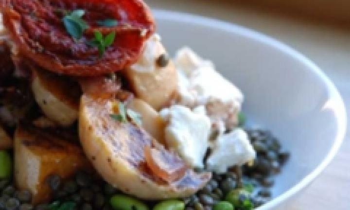 Roast Veggies With Goat's Cheese And Lentils
