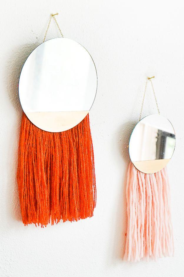 DIY Fringed Mirror Wall Hanging