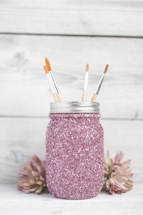 DIY Glitter Mason Jars