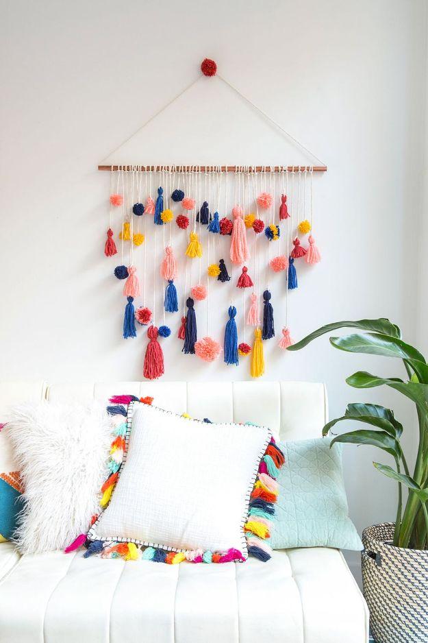 Insanely cute Pom-Pom Tassel Wall Hanging