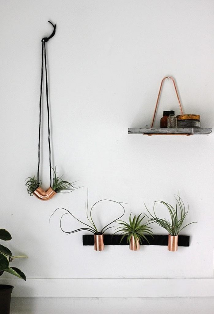 Minimal Copper Airplant Holders