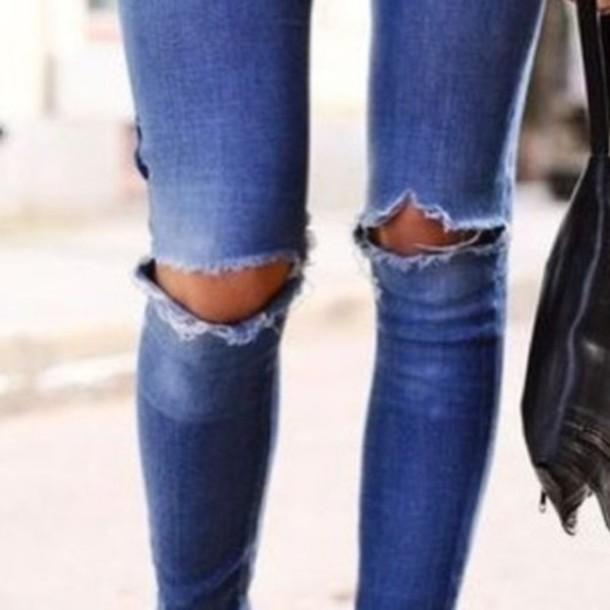 Open Knee Distressing Jeans