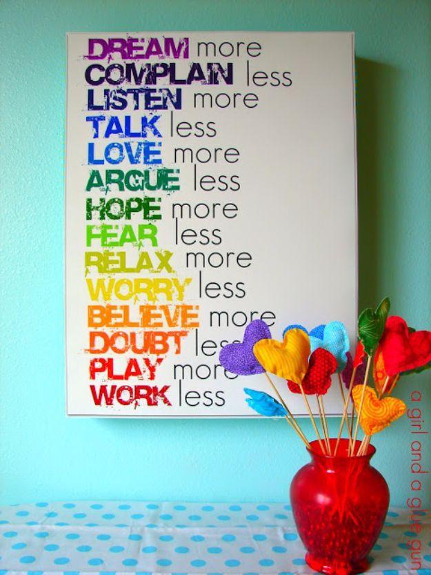 Rainbow Text Wall Art