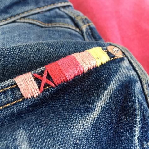 Simple Hand Stitch on Jeans1