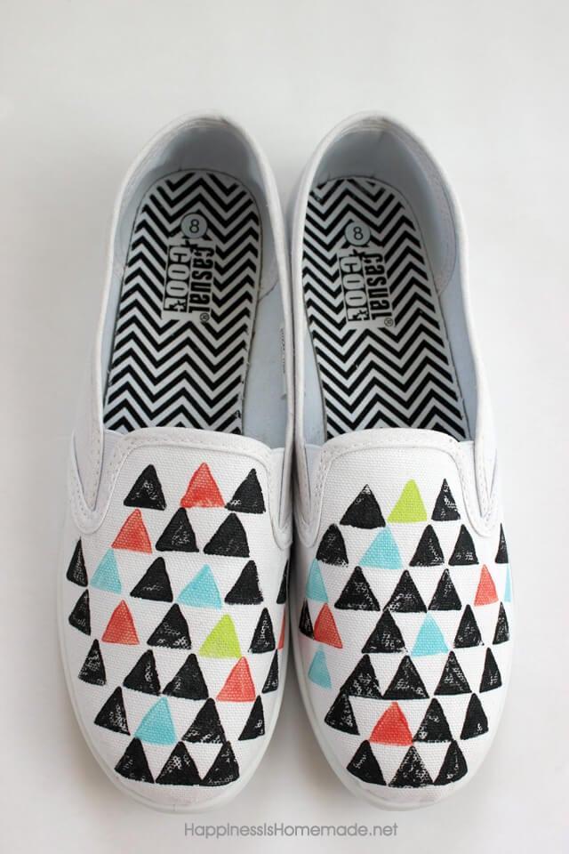 Geometric print on Blank Sneakers