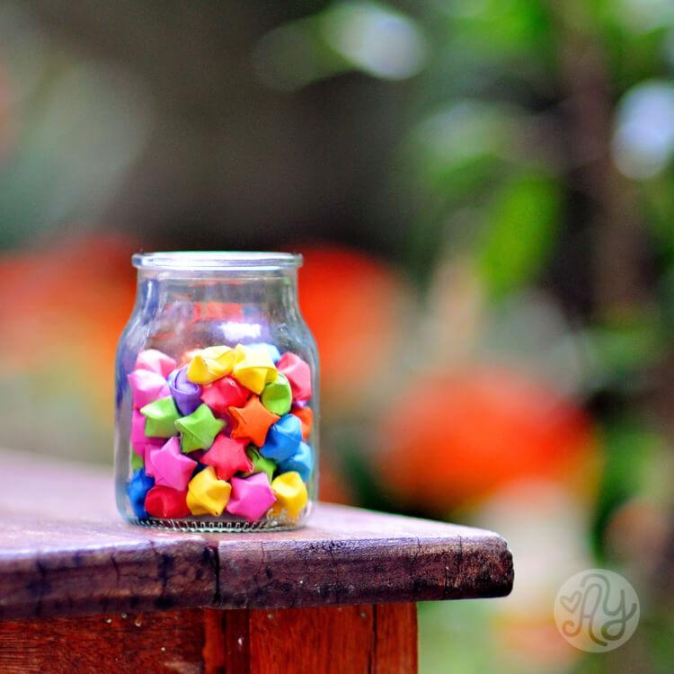 Glass Jar Filled with Origami Stars
