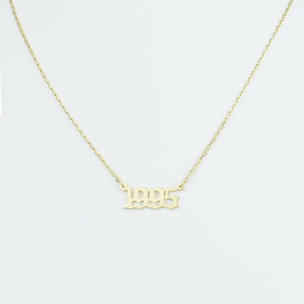 JWLGANG Old English Letter Name Necklace