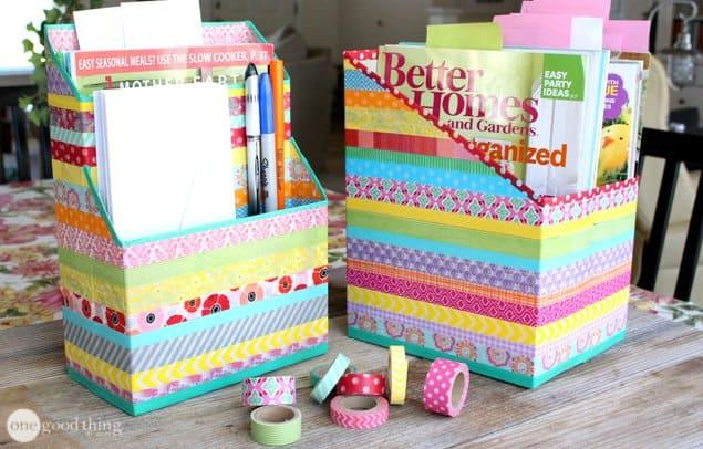 Organizer with Cereal Box and Washi Tape