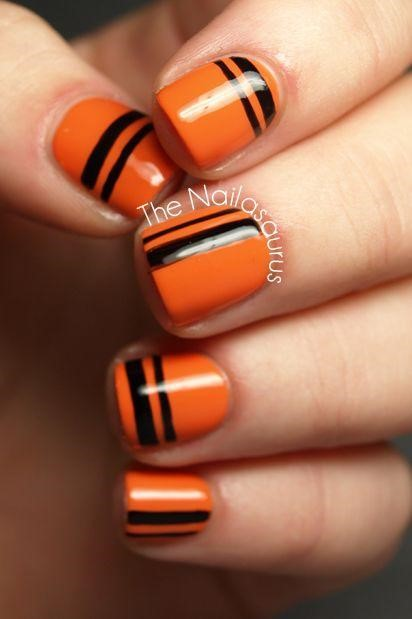 Striped Halloween Nails