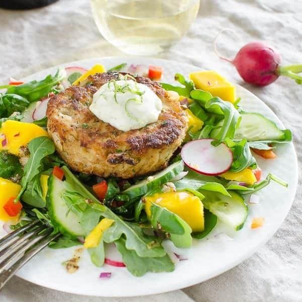 Lime Mango Crab Cake Salad
